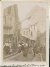 France, La rue de Jerzual à Dinan 1903, Vintage citrate print Vintage citrate pr