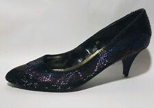 J Renee Shoes Womens 8 Narrow Heels Classic Beaded Pump Kitten Blue Black Purple