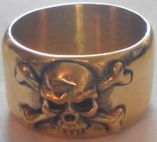 Bronze Old Pirate Skull & Cross Bones Band Biker Ring Custom Size Ship R-103b