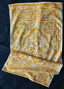 TWO VINTAGE RETRO 1970'S TERRY HAND TOWELS MUSTARD YELLOW & WHITE; UNUSED