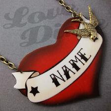 Customised Red Heart Tattoo Kitsch Necklace Rockabilly Custom Made