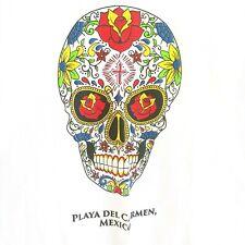 Sugar Skull Day Of The Dead Playa De Carmen Mexico White Medium T-Shirt