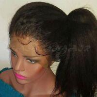 100% Italian Virgin Human Hair Lace Front Wig Yaki Straight Full Wig Baby Hair g