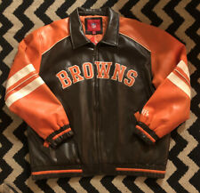 Cleveland Browns Leather Jacket Size XL Sports Coat NFL Zip Front