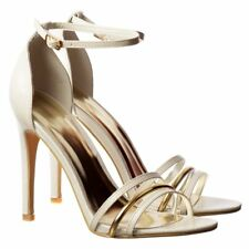 Womens Ankle Strap Cuff Mid Heels Party Shoes Stilettos Black Nude Gold Silver