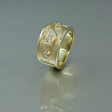 Ring in 585/14k Gelbgold mit zum Herz geformten Brillanten ca. 0,16ct Größe 48