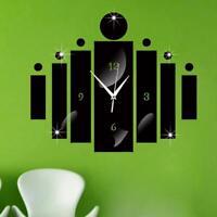 Large Wall Clock Modern Acrylic Quartz Silent DIY Mirror Cylinder Home Decorate
