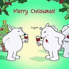 Merry Christmas Card with Wine & Bear -Funny Christmas Card -Xmas Card -Bugger