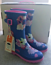 Joules Junior Welly Print Blue Large Floral Wellingtons Wellies Girls Child Sz 2