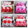 4Pcs Set 3D Rose Flower Printed Duvet Quilt Cover Bedding Pillowcases Bed Sheet