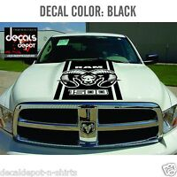 Hood Decal Vinyl Stripes for DODGE Ram Hemi 1500, 2500HD, 3500HD Rebel SRT New