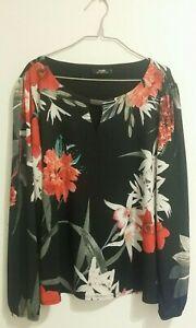 Wallis Womens Top Size UK 16 Black Red White multi Floral LS