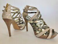 Guess strappy bootie sandal stiletto beige animal print platform zip women 7.5