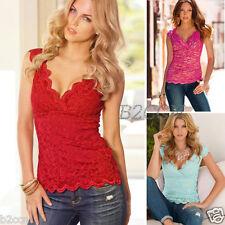 Fashion Women Summer Blouse Lace V Neck Casual Sleeveless Vest Shirt Top T-shirt