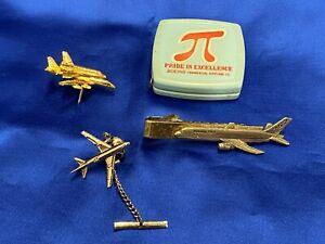 Vintage Boeing Airplane Lapel Pins & Tie Clip - 757/767/Space Shuttle Carrier! P