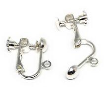 silver plated screwback leverback earclip earrings findings non pierced ears