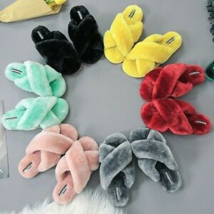 Women Plush House Slippers Faux Fur Slip on Warm Furry Flat Shoes Open Toe Green