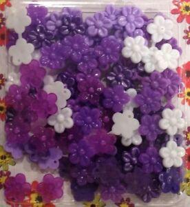 Mini Purple Mix Flower Barrettes (Snaps) for small braids, twists cornrows