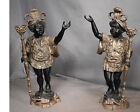 Pair Bronze Gold Black Vintage Baroque Blackamoor Statue Lamp Candle Sarreid Man