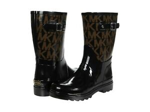 Michael Kors Women's MK Logo Mid Rain Boots Rubber Bootie Black Brown US Size 6