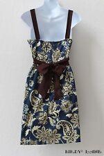 Taboo Empire Sundress Bold Blue Brown Jacobean Floral Tie Waist Boho Western Lg