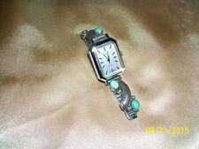 VINTAGE LADIES TIMEX ELECTRIC WATCH STERLING SILVER BAND TIPS WITH TURQUOISE!!!