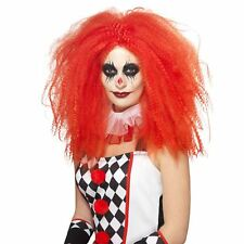 Ladies Red Clown Crimped Style Wig Jesterina Quinn Halloween Jester Fancy Dress