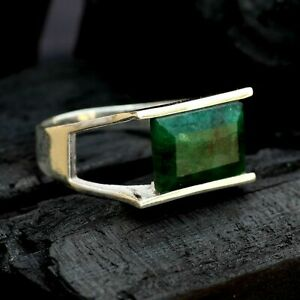 Emerald Gemstone Solid 925 Sterling Silver Signet Mens Ring Jewelry RZ