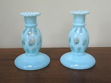 Vintage Fenton Blue Opalescent Coin Dot Candlestick Holders ~ Pair