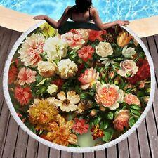 Multicolor Flower Microfiber Beach Towel Yoga Mat Round Blanket 150cm DZ1155