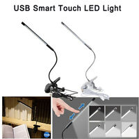 Flexible USB Touch Dimmable LED Light Clip-on Bed Table Desk Lamp Reading Light