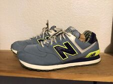 Men's New Balance ML574SBE Size 9 casual running blue Neon Yellow canvas 247 990