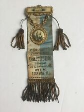 RARE ANTIQUE RIBBON AND MEDAL WITH TASSELS  1913 LITHUANIAN RELIGIOUS