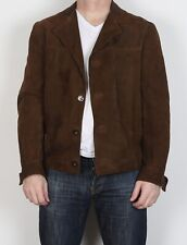 "Suede Jacket fitted Leather coat Medium 40"" Brown 70's (5CV)"