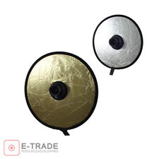 """30cm (12"""") 2-in-1 Collapsible Round Light Reflector Silver & Gold with lens hole"""