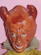 SUPERBE  tete c1880   MARIONNETTE  DEVIL/KRAMPUS/  DIABLE puppet papier mache