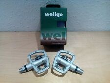 Wellgo R120B Alloy Bike Cycle SPD Pedals in Silver cr-mo 9/16 spindle .New