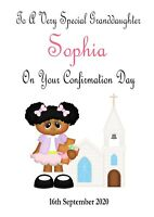 CONFIRMATION GREETING CARD 2021 Little Girl Fully Personalised FREEPOST
