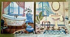 """CANVAS ART -  SET OF 2 - 12"""" x 12"""" EACH BATHROOM  ARTWORK (Bathtub & Sink)"""