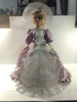 Vintage Victorian Style Porcelain Umbrella 21 Inch Doll In Purple Dress   ds1331