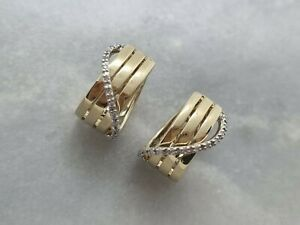 Stunning Solid 9ct Yellow White Gold Crossover Design Hoop Earrings Diamond 5.6g