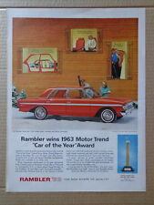 RAMBLER 1963 Large 10.25 x 14 inches RED 4-door sedan Car AD advertisement