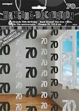 70th BIRTHDAY PARTY DECORATIONS HANGING STRINGS - SILVER/BLACK  - PACK 6