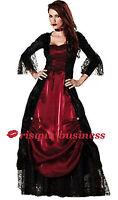 Gothic Medieval Vampire Vampiress Witch Fancy Dress Costume 10 12 14 16 18 20 22