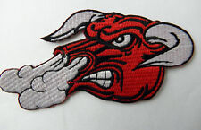 SNORTING BULL NOVELTY EMBROIDERED PATCH 5 x 2.5 INCHES