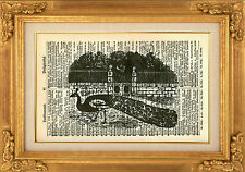 ORIGINAL-Peacock in the Park Vintage Dictionary Art Print-Wall Hanging