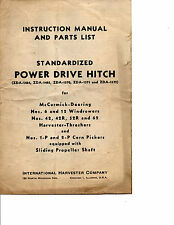 1944 McCORMICK DEERING STANDARDIZED POWER DRIVE HITCH MANUAL-PARTS LIST-TRACTOR