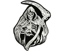 "(L12) Large REAPER SKULL w/ HOURGLASS 9"" x 12"" iron on back patch (3587)"