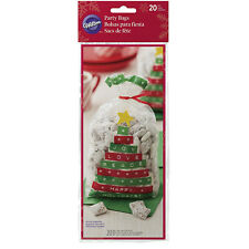 Wilton 20pc Standard Merry & Bright Christmas Tree Treat Gift Bags with Red Ties