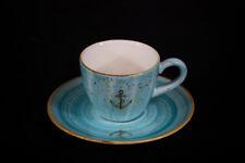 Porzellan Espresso Tasse blau mit Anker gold Bonna Geschirr maritim Elbufer NEU